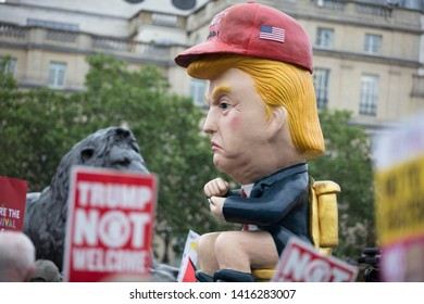 LONDON, UK - June 4th, 2019: A political satire sculpture of Donald Trump made at an anti Trump March in London