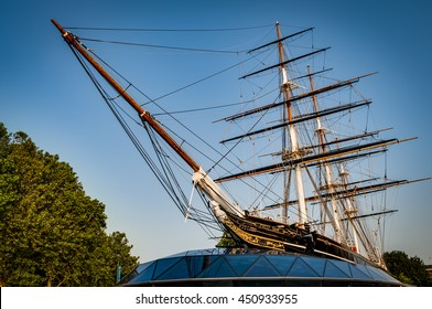 London, UK - June 5, 2016: Cutty Sark, fastest boat of the 19th century, London, England, UK