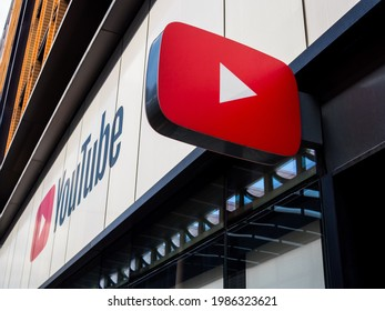 London, Uk, June 5th 2021: The YouTube Space London, logo and facade, 6 Pancras Road, Kings Cross, London. For virtual and pop-up events designed to aid content creators hosted by Youtube.