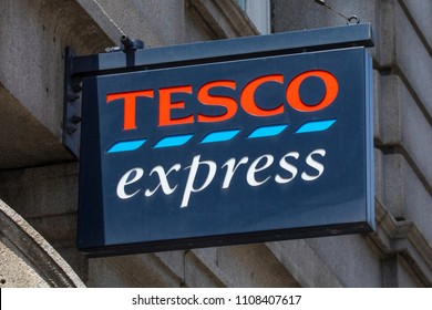 LONDON, UK - JUNE 6TH 2018: A sign above one of the Tesco Express stores in central London, on 6th June 2018.