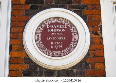 LONDON, UK - JUNE 6TH 2018: A plaque on Dr Johnsons House in the City of London, marking where famous author Dr. Samuel Johnson lived - image taken 6th June 2018.