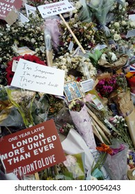 LONDON/ UK- JUNE 6th 2018: Flowers left on London bridge to remember the terror attack of last year.