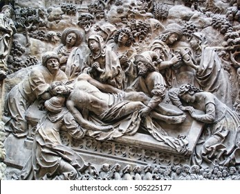 London, UK, June 7, 2009 : The Entombment of Christ from a section of a plaster copy of the Schreyer Landauer Monument on display at the British Museum