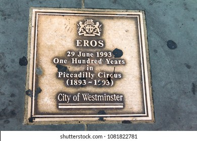 LONDON, UK - JUNE 7, 2015: Eros love statue at Piccadilly Circus. London, United Kingdom. Memorial sign in memory of the centenary of the monument