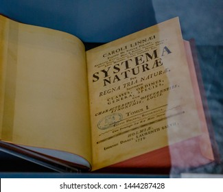 London, UK, June 8, 2019 Systema Naturae at National History Museum. This book is one of the major works of the Swedish botanist, zoologist and physician Carl Linnaeus.