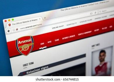 LONDON, UK - JUNE 8TH 2017: The homepage of the official website for Arsenal Football Club, on 8th June 2017.