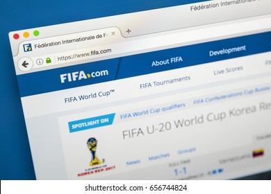 LONDON, UK - JUNE 8TH 2017: The homepage of the official website for FIFA, on 8th June 2017.  FIFA is the international governing body of association football, futsal, and beach soccer.