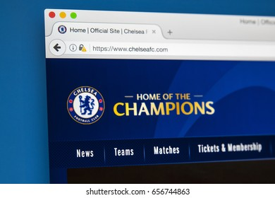 LONDON, UK - JUNE 8TH 2017: The homepage of the official website for Chelsea Football Club, on 8th June 2017.