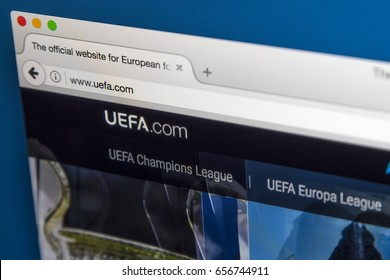 LONDON, UK - JUNE 8TH 2017: The homepage of the official website for UEFA, on 8th June 2017.  UEFA is the administrative body for association football in Europe.