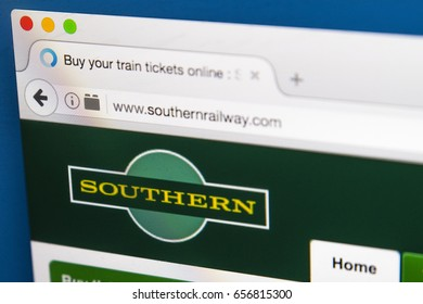 LONDON, UK - JUNE 8TH 2017: The homepage of the official website for Southern Rail, on 8th June 2017.