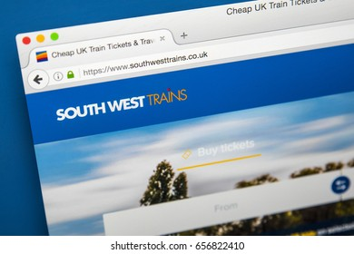 LONDON, UK - JUNE 8TH 2017: The homepage of the official website for South West Trains, on 8th June 2017.