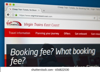 LONDON, UK - JUNE 8TH 2017: The homepage of the official website for Virgin Trains East Coast, on 8th June 2017.