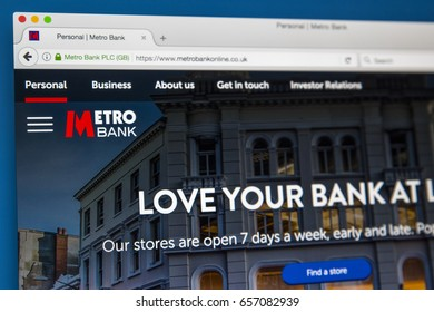 LONDON, UK - JUNE 8TH 2017: The homepage of the official website for the Metro Bank, on 8th June 2017.