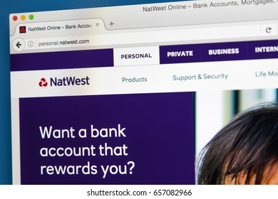 LONDON, UK - JUNE 8TH 2017: The homepage of the official website for Natwest Bank, on 8th June 2017.