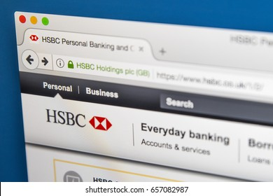 LONDON, UK - JUNE 8TH 2017: The homepage of the official website for HSBC, on 8th June 2017.