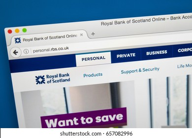 LONDON, UK - JUNE 8TH 2017: The homepage of the official website for the Royal Bank of Scotland, on 8th June 2017.