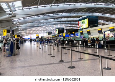 LONDON, UK - June 9, 2015: Unidentified people at one of main Terminal Lounge of Heathrow Airport,  busiest airport in  United Kingdom and  busiest airport in Europe by passenger traffic.Check-in area