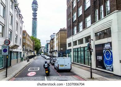 LONDON, UK - JUNE 9, 2015: View of British telecom tower from Euston Road, Fitzrovia, London