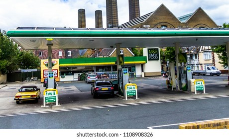 LONDON, UK - JUNE 9, 2015: Cutty Sark Gas and Trafalgar Service Station And Convenience Store in Greenwich
