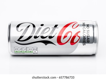 LONDON, UK - JUNE 9, 2017: Aluminium can of Diet Coke soft drink on white background.The Coca-Cola Company, an American multinational beverage corporation.