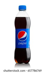 LONDON, UK - JUNE 9, 2017: Bottle of Pepsi Cola soft drink on white background.American multinational food and beverage company