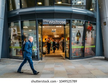 London, UK- Mar 13, 2018: Little Waitrose upmarket supermarket