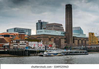 London, UK- Mar 13, 2018: Millennium bridge, Tate Modern and Shakespeare's Globe buildings - London attractions