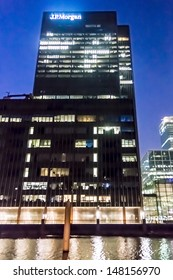 LONDON, UK - MAR 17: JPMorgan Chase & Co. European Head Quarter at night at Canary Wharf on March 17, 2013 in London. JPMorgan Chase & Co. - second-largest American multinational bank by assets.