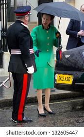 LONDON, UK - MAR 18: Princess Anne leaves the Royal Society in London on the MAR 18, 2013 in London, UK