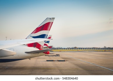 LONDON, UK, - MAR 23, 2016 : British Airways  tail livery at the Heathrow International Airport  Mar 23, 2016. British Airways is one of the bigest airlines in Europe