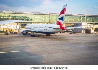 LONDON, UK, - MAR 23, 2016 : British Airways aircraft at the Heathrow International Airport ready for boarding connected to aerobridge.  Mar 23, 2016