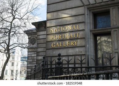 LONDON, UK - MARCH 01: Detail of National Portrait Gallery building. March 01, 2014 in London.