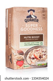 LONDON, UK - MARCH 05, 2019: Box of Quaker porridge Super Goodness Nutri Boost with apple and cinnamon on white.