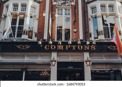 London, UK - March 06, 2020: Facade of the Comptons gay pub in Soho, an area of London famous for LGBTQ+ bars, restaurants and clubs.