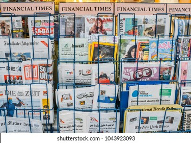 London, UK - March 10, 2018: Close up of British and international magazines and newspapers for sale at a London newsstand in London, UK