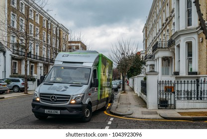 London, UK - March 10, 2018: Ocado food delivery lorry outside a Chelsea, London street