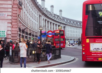 London / UK - March 10, 2018: busy traffic on Regent street near Piccadilly Circus, City of Westminster Borough. Regent Street is a major shopping street in the West End of London.