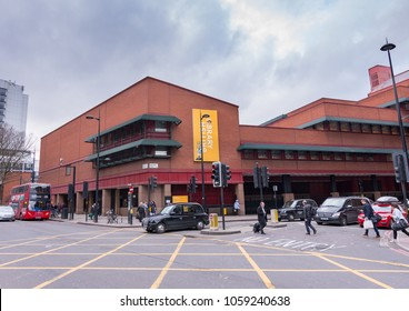 London, UK, March 10, 2018. The British Library, the world's biggest library. Exterior view from Euston Road and Midland Road junction