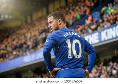 London, UK - March 10 2019: Eden Hazard of Chelsea during the Premier League match between Chelsea and Wolverhampton Wanderers at Stamford Bridge.