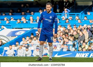 London, UK - March 10 2019: Eden Hazard of Chelsea during the match of Premier League between Chelsea - Wolverhampton Wanderers, Stamford Bridge stadium.