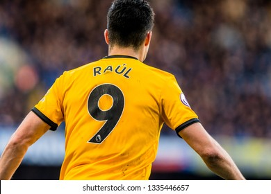 London, UK - March 10 2019: Raúl Jiménez of Wolverhampton Wanderers during the match of Premier League between Chelsea - Wolverhampton Wanderers, Stamford Bridge stadium.