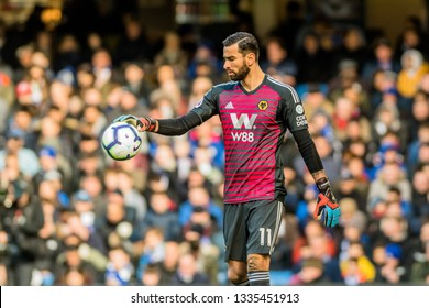 London, UK - March 10 2019: Rui Patrício of Wolverhampton Wanderers during the match of Premier League between Chelsea - Wolverhampton Wanderers, Stamford Bridge stadium.