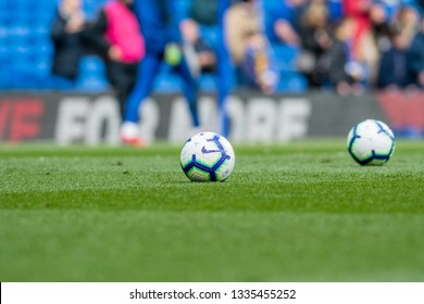 London, UK - March 10 2019: The Nike Ball on the field during the match of Premier League between Chelsea - Wolverhampton Wanderers, Stamford Bridge stadium.