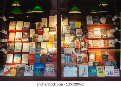 London / UK - March 11, 2018: shop window display the Daunt Books store on the Holland Park Avenue in London, UK. The street is boasts attractive terraces and numerous high-end shops and restaurants