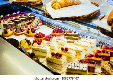 London / UK - March 11, 2018: Close up photo of the showcase with cakes in Patisserie Valerie in London, UK