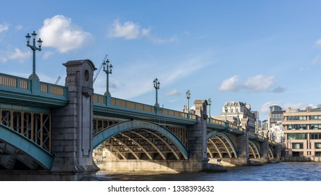 LONDON, UK - MARCH 11 : Blackfriars Bridge over the River Thames in London on March 11, 2019