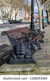 LONDON, UK - MARCH 11 : Camel design wooden bench on Victoria embankment in London on March 11, 2019