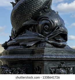 LONDON, UK - MARCH 11 : Close-up of a Vulliamy's dolphin lamp post on the Embankment in London on March 11, 2019