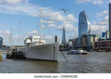 LONDON, UK - MARCH 11 : HMS Wellington moored on the River Thames in London on March 11, 2019