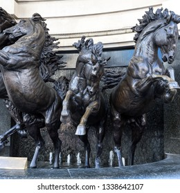 LONDON, UK - MARCH 11 : The Horses of Helios Statue in Piccadilly London on March 11, 2019